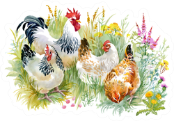 Chicken And Rooster In The Grass Colorful Sticker