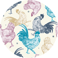 Chicken Collection Seamless Colorful Pattern Sticker