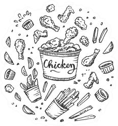 Chicken Fast Food Concept Illustration Sticker