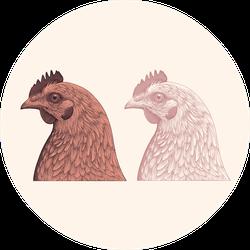 Chicken Head Design Set Illustration Sticker