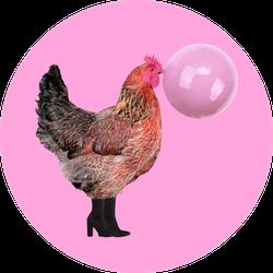 Chicken Wearing Black Boots And Chewing Bubblegum Sticker