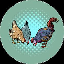 Chickens And Rooster Farm Birds Pop Art Sticker