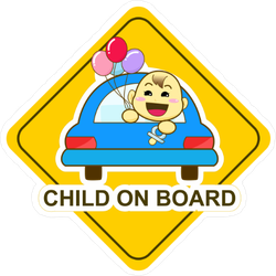 Child on Board with Balloons Sticker
