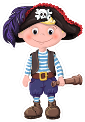 Child Pirate with Telescope Sticker