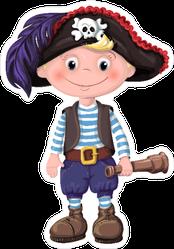 Child Pirate with Telescope Sticker