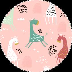 Childish Pattern With Cute Giraffe Sticker