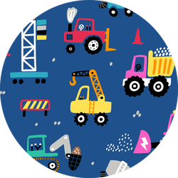Childish Seamless Pattern With Building Tractors Sticker