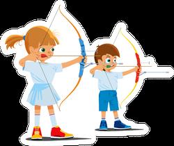 Children In Sports Archery Illustration Sticker