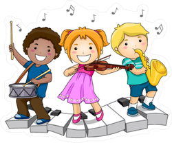 Children Playing Musical Instruments Sticker