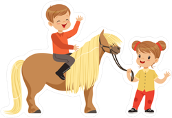 Children with Pony Sticker