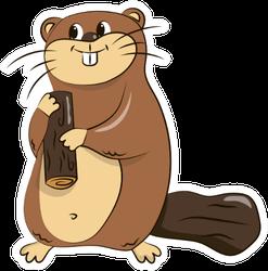Children's Illustration Of A Beaver Holding Wood Sticker