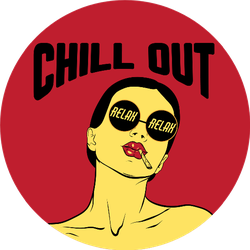 Chill Out Relax, Girl Smoking Joint Sticker