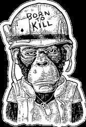 Chimpanzee Monkey Dressed As Soldier Sticker
