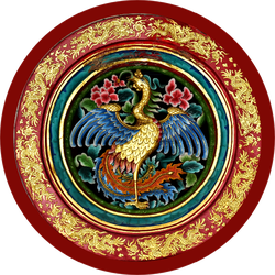 China Swan In The Temple With Red Background Sticker