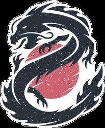 Chinese Dragon On The Sun Sticker