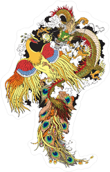 Chinese Jade Dragon And Golden Phoenix Feng Huang Sticker