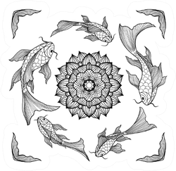Chinese Koi Fishes Swimming Around Lotus Flower Sticker