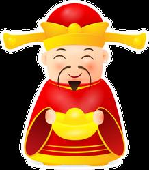 Chinese Money God Character Sticker