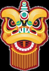 Chinese New Year Lion Head Sticker