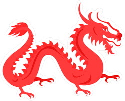 Chinese Red Dragon Sticker