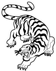 Chinese Tattoo Style Tiger Sticker
