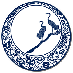 Chinese Traditional Blue And White Porcelain Cranes Sticker