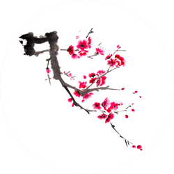 Chinese Watercolor Cherry Painting Sticker