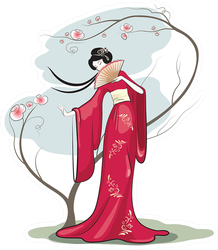 Chinese Woman With Hand Fan Sticker