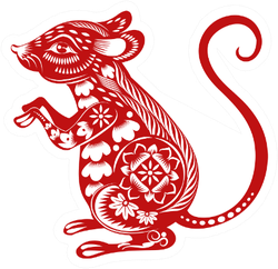 Chinese Zodiac Sign Year Of Rat Red Paper Sticker
