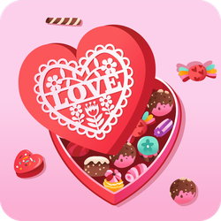 Chocolate Heart Box Sticker