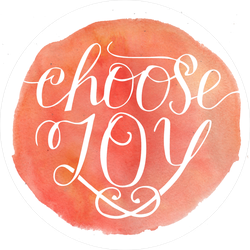 Choose Joy Watercolor Circle Sticker