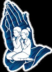 Christian Boy And Girl In Prayer Sticker