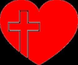 Christian Cross In Heart Transfer Sticker
