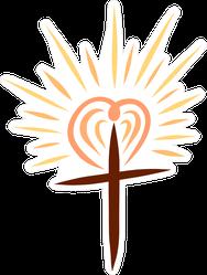 Christian Cross With Shining Heart Sticker