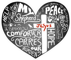 Christian Typography On Chalkboard Heart Sticker