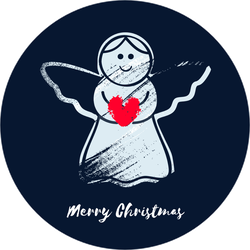 Christmas Angel Holding Heart Sticker