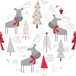 Christmas Background With Decorative Moose Sticker