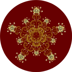 Christmas Card With Golden Snowflake On Deep Red Sticker