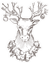 Christmas Deer Head Sketch Sticker
