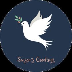 Christmas Dove Season's Greetings Illustration Sticker