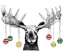 Christmas Moose Sticker