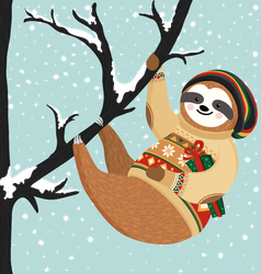 Christmas Sloth Sticker