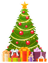 Christmas Tree And Holiday Gifts Sticker