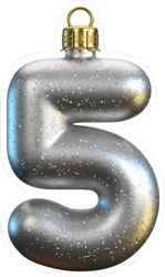 Christmas Tree Decoration Font Number 5 Sticker