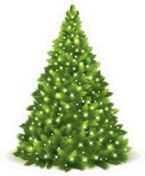 Christmas Tree Lit With White Lights Sticker