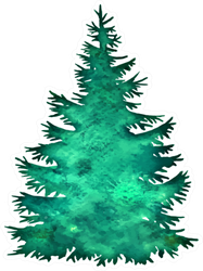 Christmas Tree  Silhouette Illustration Sticker