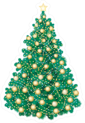 Christmas Tree With Golden Lights Sticker