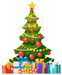 Christmas Tree Balls.Christmas Tree With Star Decoration Balls And Lights Sticker