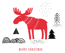 Christmas, Winter Illustration With Moose Sticker