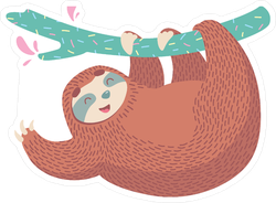 Chubby Sloth Waving From A Tree Branch Sticker